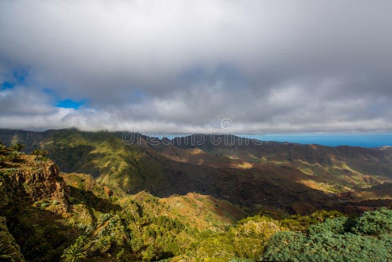 Mountains on La Gomera island. Beautiful landscape view on green mountains near Garajonay park on La Gomera island in Spain stock images