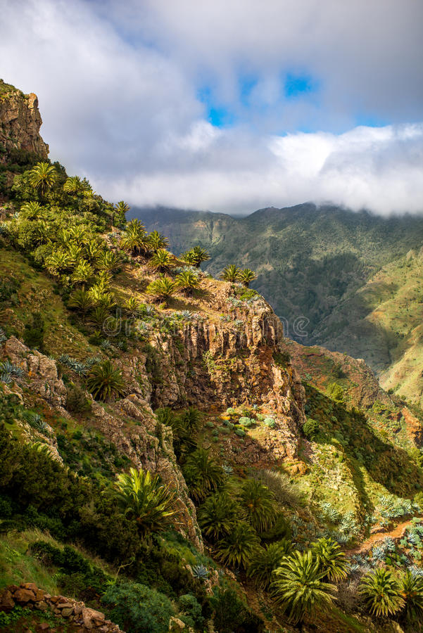 Mountains on La Gomera island. Beautiful landscape view on green mountains near Garajonay park on La Gomera island in Spain stock photo