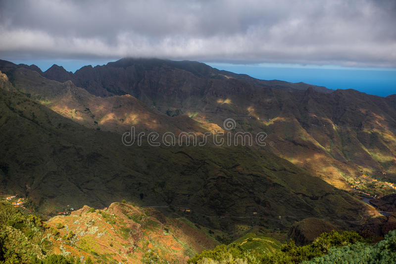 Mountains on La Gomera island. Beautiful landscape view on green mountains near Garajonay park on La Gomera island in Spain royalty free stock photography