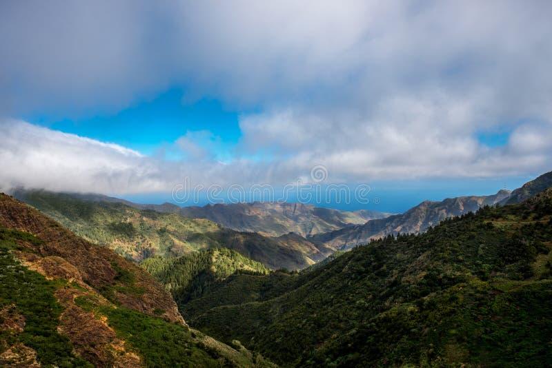 Mountains on La Gomera island. Beautiful landscape view on green mountains near Garajonay park on La Gomera island in Spain royalty free stock photo