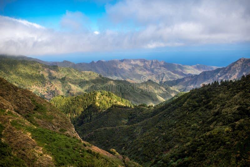 Mountains on La Gomera island. Beautiful landscape view on green mountains near Garajonay park on La Gomera island in Spain royalty free stock image