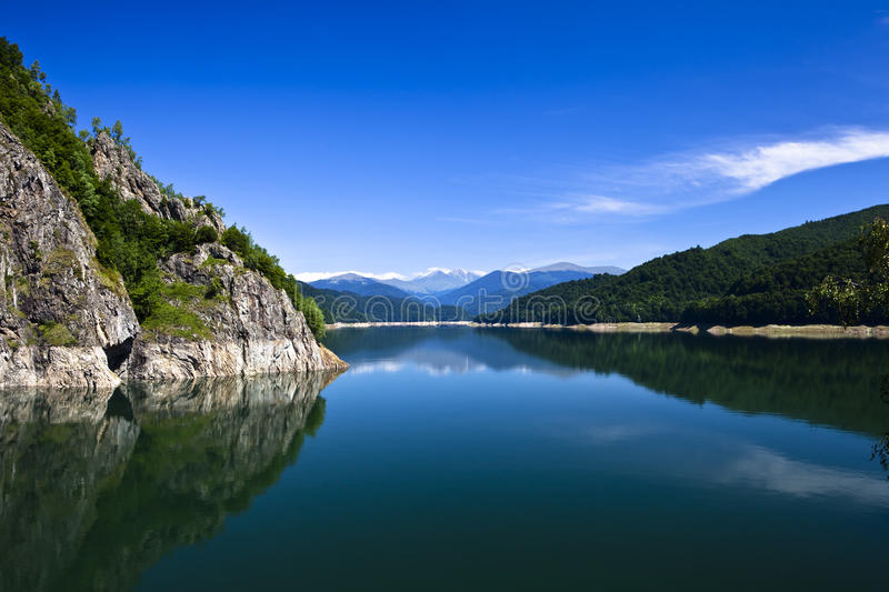 Mountains and lake stock images