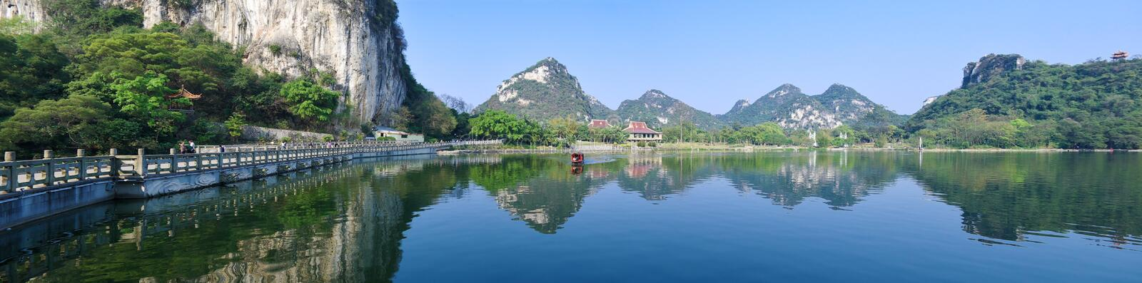Mountains and lake. Natural karst landscapes ,mountains reflection in the lake stock photography