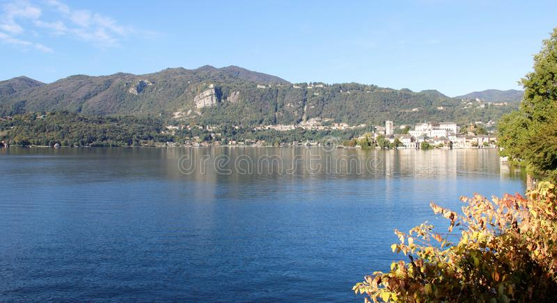 Orta Lake And Mountains View. Italy stock image