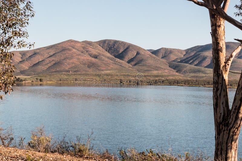 Mountains and Lake at Lower Otay Lake stock image