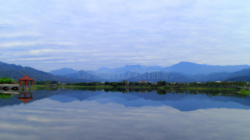 The mountains and the lake royalty free stock photo
