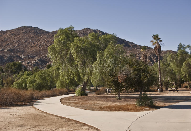 Mountains from Lake Perris State Park stock image