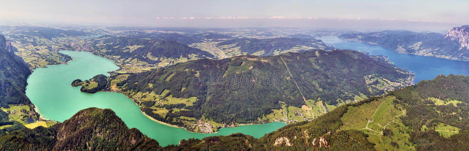 Mountains and Lakes - Panoramic view of the Alpine Glacial Lakes Mondsee and Attersee royalty free stock photography