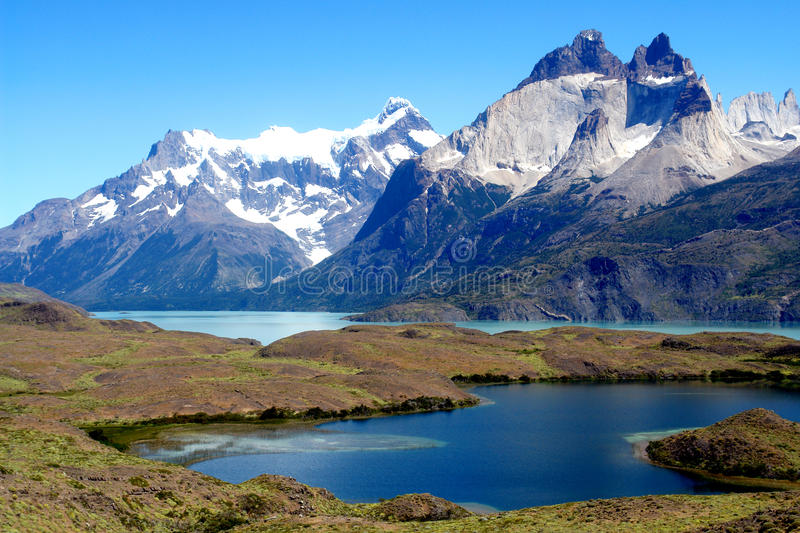Mountains and Lakes. In Pategonia stock images