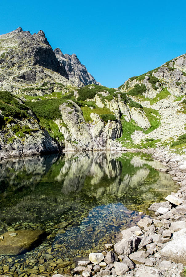 Mountains and lakes, Tatra Mountains, Slovakia. Panorama royalty free stock photography
