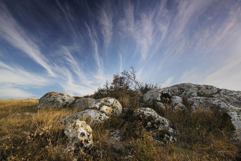 Mountains landscape and cloudy sky. Beautiful mountains landscape and cloudy sky. Crimea stock image