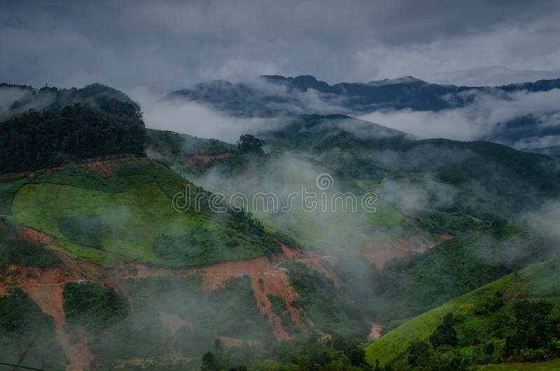 Mountains landscape in cloudy summer day royalty free stock photo