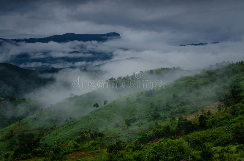 Mountains landscape in cloudy summer day royalty free stock photography