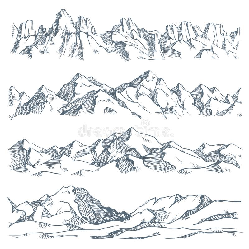 Free Mountains Landscape Engraving. Vintage Hand Drawn Sketch Of Hiking Or Climbing On Mountain. Nature Highlands Vector Royalty Free Stock Photography - 144323747