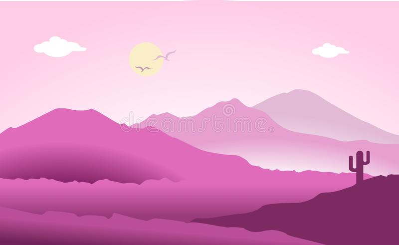Mountains landscape flat design vector illuatration royalty free illustration