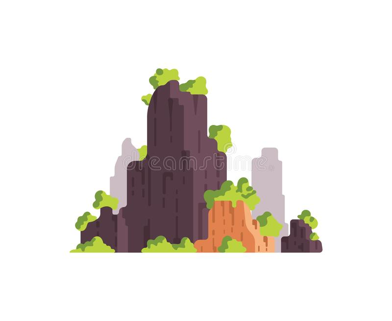 Mountains landscape isolated vector illustration in cartoon style. Nature mountain silhouette. Mountains landscape isolated vector illustration in cartoon style vector illustration