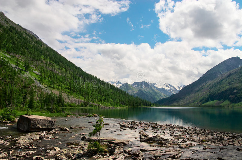 Mountains landscape and lake. stock images