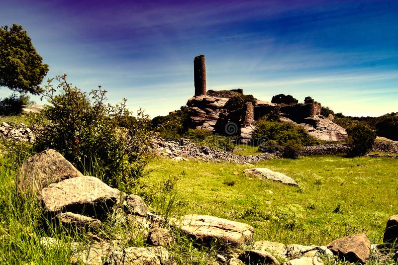Castle ruins on a stone slab stock image
