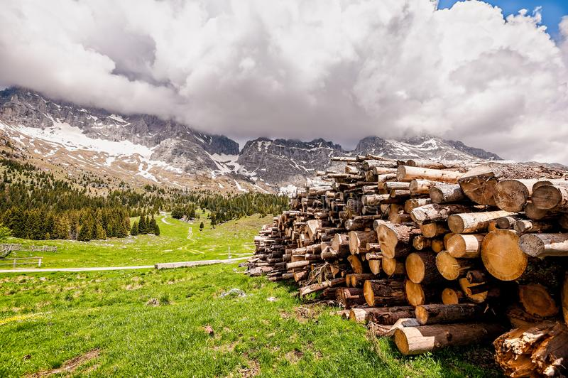Mountains landscape with pile of logs in the foreground. Plateau. Mountains landscape with pile of logs in the foreground. Lumber Industry.Plateau of Montasio stock photography