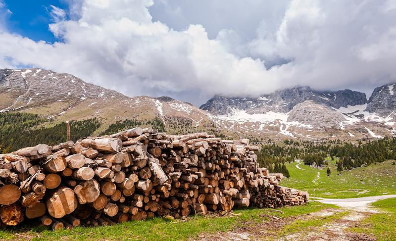 Mountains landscape with pile of logs in the foreground. Plateau. Of Montasio, Alps royalty free stock photography