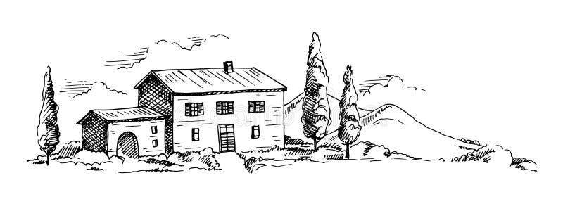 Mountains landscape sketch stock illustration
