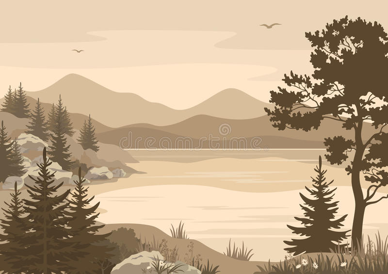 Mountains Landscapes, Lake, Trees and Birds stock illustration