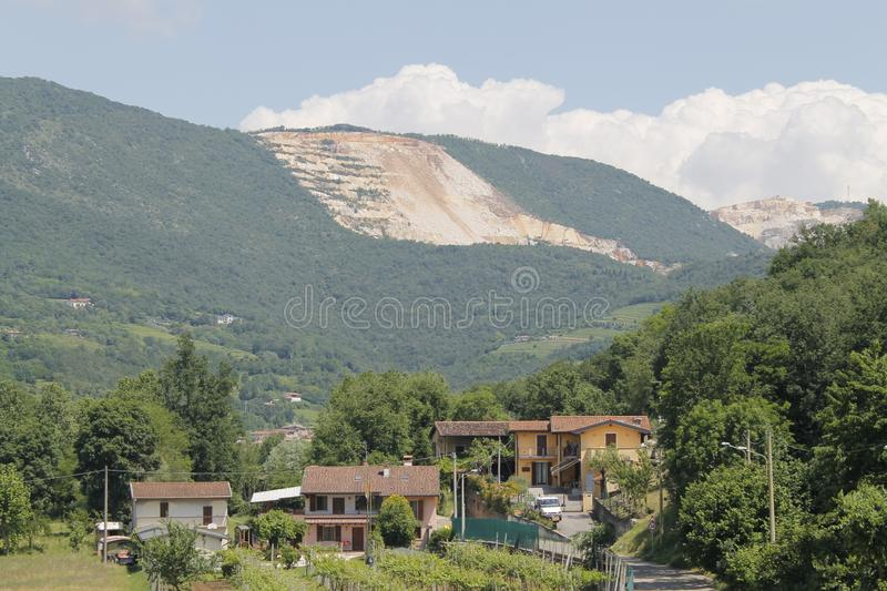 Marble quarries. Mountains with marble quarries in Botticino in northern Italy royalty free stock photography