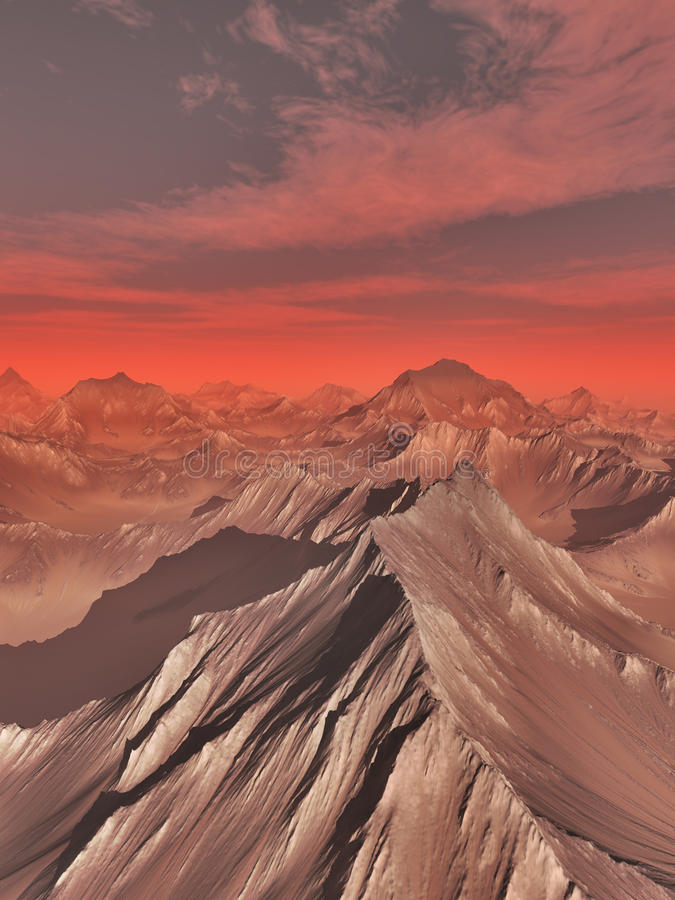 Mountains of Mars. Science fiction illustration of an imaginary mountain landscape on Mars, 3d digitally rendered illustration vector illustration