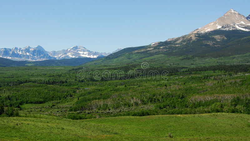 Mountains, meadows and forests stock photo