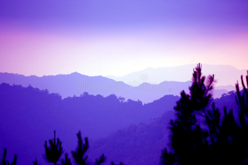 Mountains in mist royalty free stock photo