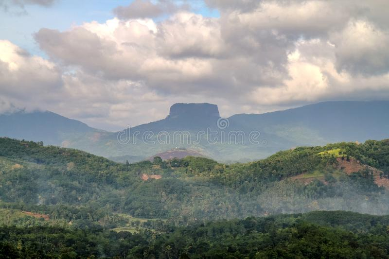 Mountains in the mist in Sri Lanka stock photography