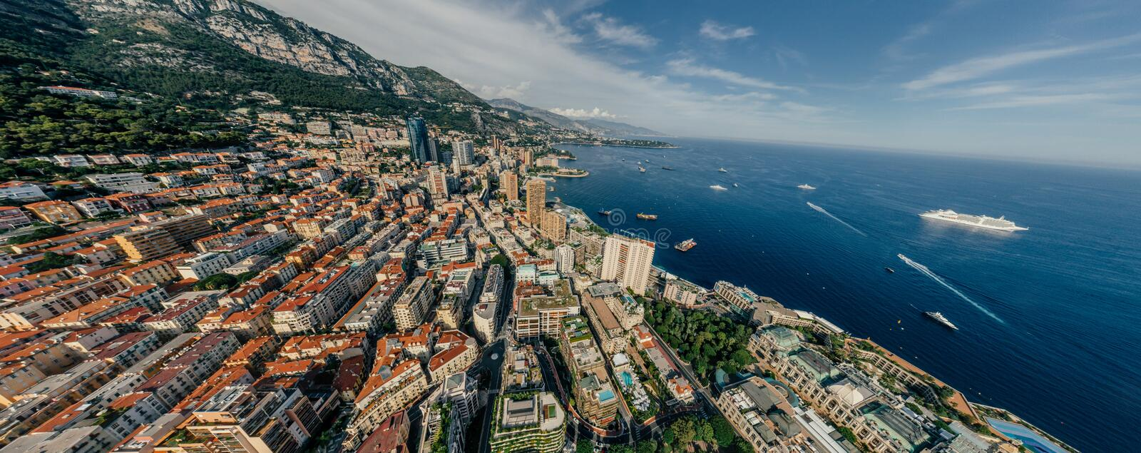 Mountains in Monaco Monte-Carlo city riviera Drone summer photo Air 360 vr virtual reality drone panorama. Sphere Panorama Summer Sea Coastline in Monaco Air stock images