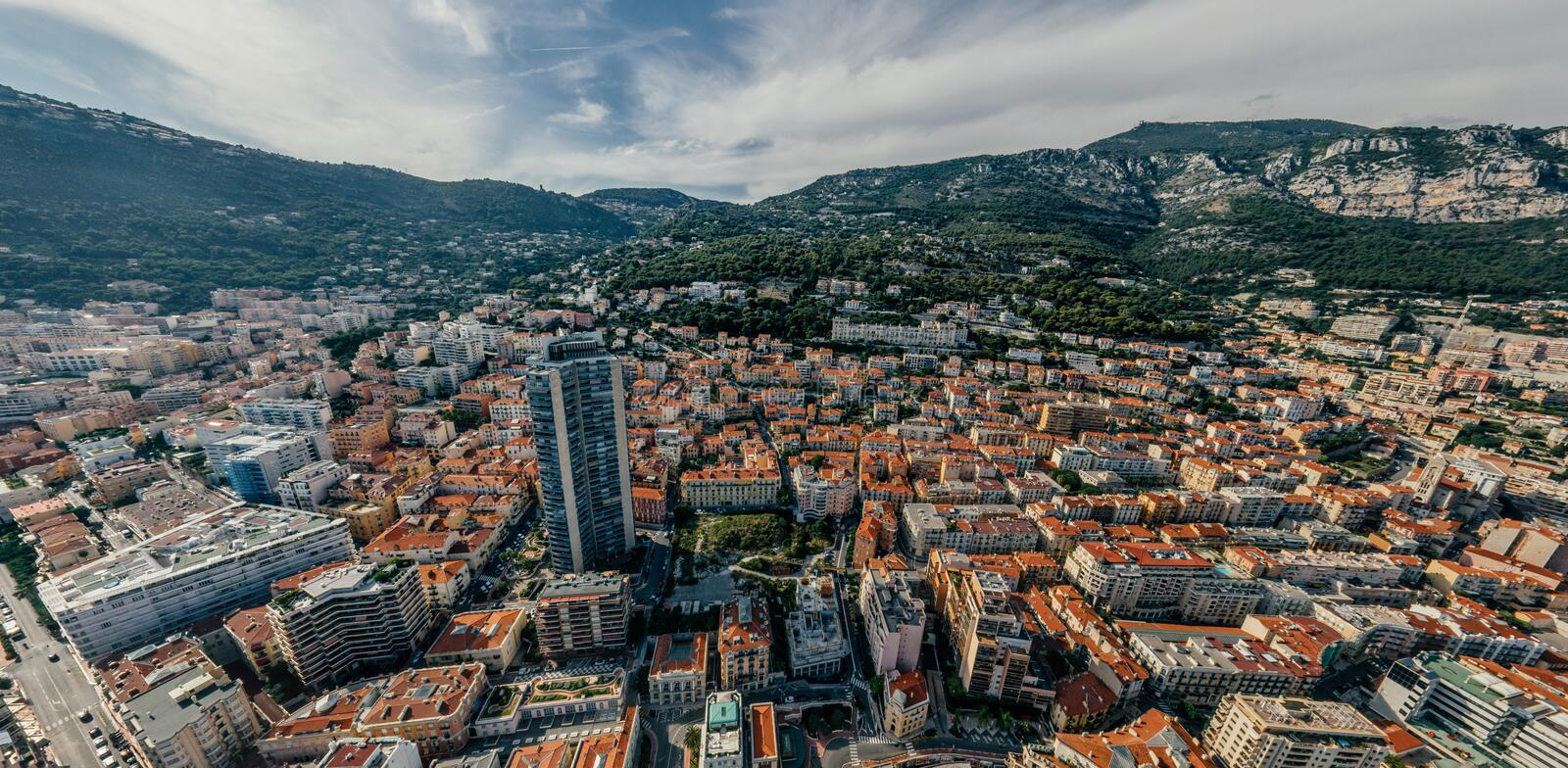 Mountains in Monaco Monte-Carlo city riviera Drone summer photo Air 360 vr virtual reality drone panorama. Sphere Panorama Summer Sea Coastline in Monaco Air stock image