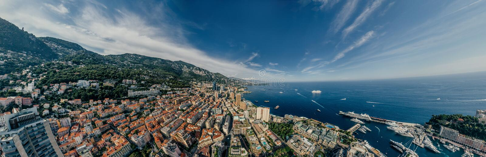 Mountains in Monaco Monte-Carlo city riviera Drone summer photo Air 360 vr virtual reality drone panorama. Sphere Panorama Summer Sea Coastline in Monaco Air royalty free stock photography