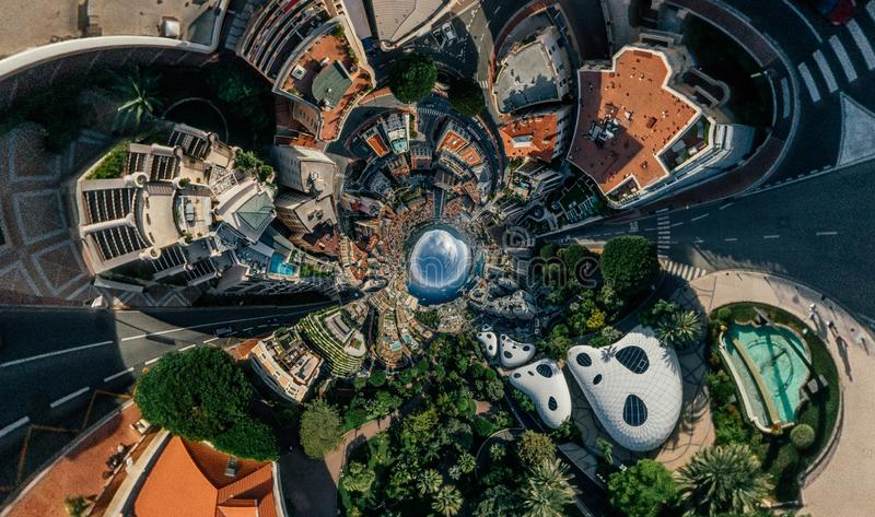 Mountains in Monaco Monte-Carlo city riviera Drone summer photo Air 360 vr virtual reality drone panorama. Sphere Panorama Summer Sea Coastline in Monaco Air stock photography