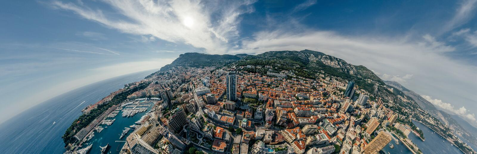 Mountains in Monaco Monte-Carlo city riviera Drone summer photo Air 360 vr virtual reality drone panorama. Sphere Panorama Summer Sea Coastline in Monaco Air royalty free stock image