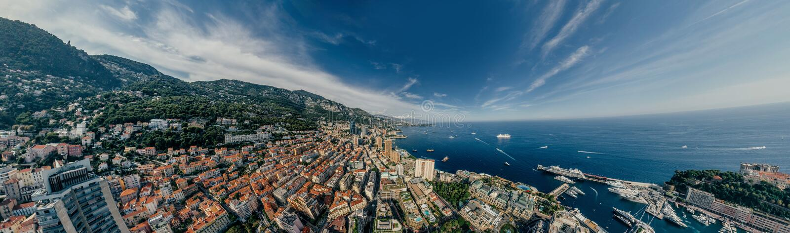 Mountains in Monaco Monte-Carlo city riviera Drone summer photo Air 360 vr virtual reality drone panorama. Sphere Panorama Summer Sea Coastline in Monaco Air royalty free stock photos
