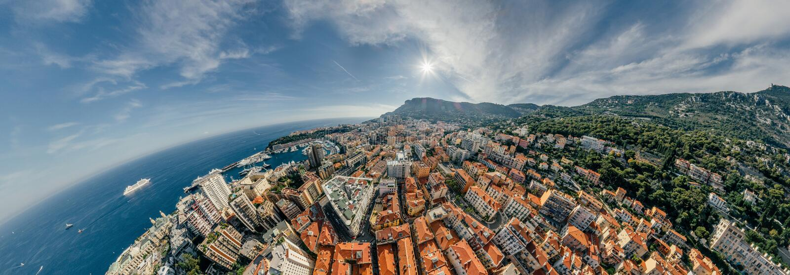 Mountains in Monaco Monte-Carlo city riviera Drone summer photo Air 360 vr virtual reality drone panorama. Sphere Panorama Summer Sea Coastline in Monaco Air stock photos
