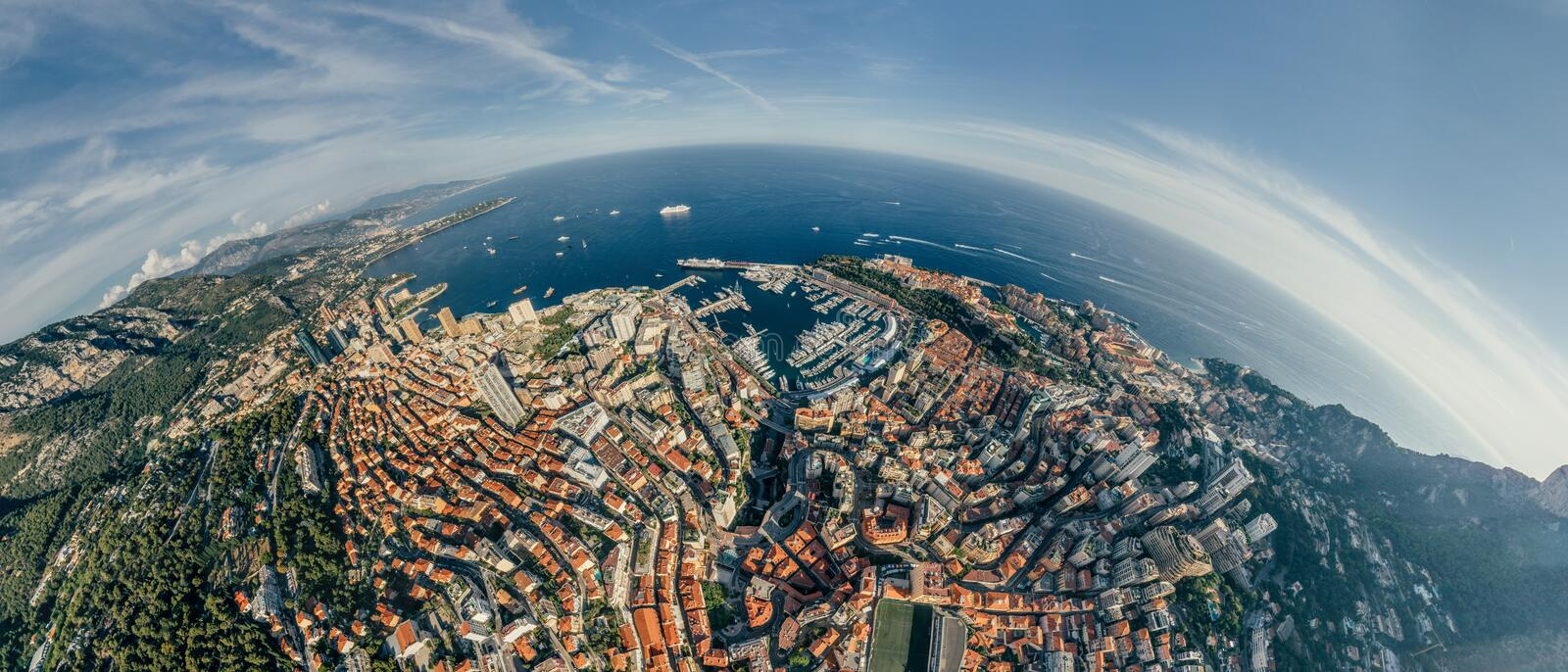 Mountains in Monaco Monte-Carlo city riviera Drone summer photo Air 360 vr virtual reality drone panorama. Sphere Panorama Summer Sea Coastline in Monaco Air royalty free stock photo