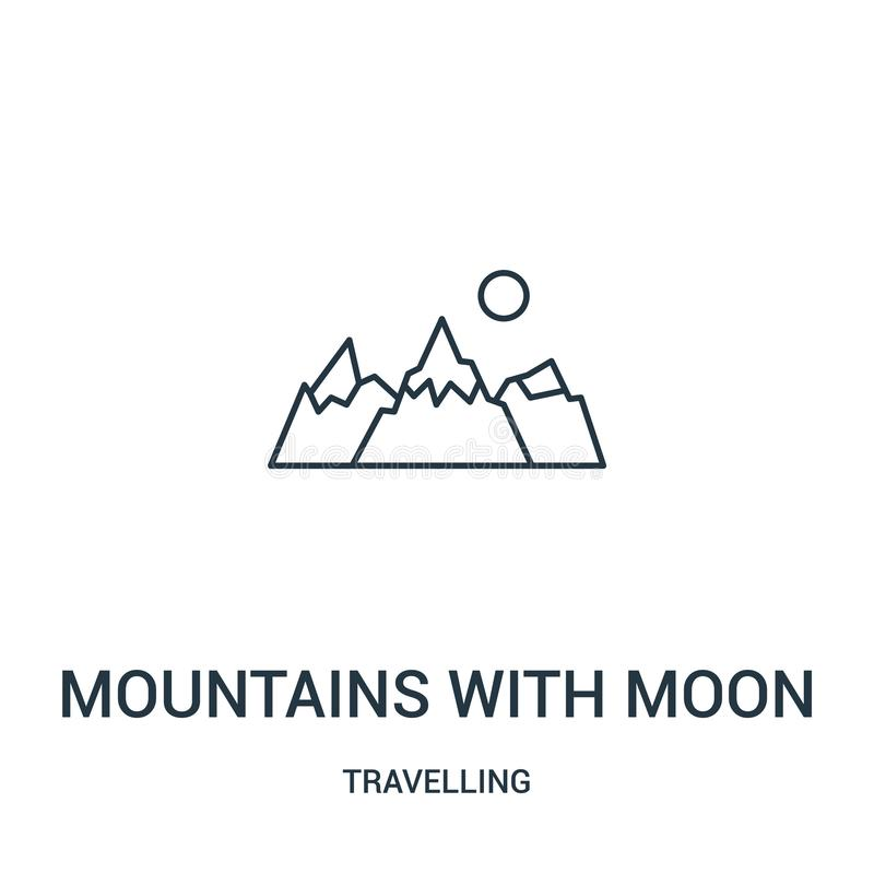 mountains with moon icon vector from travelling collection. Thin line mountains with moon outline icon vector illustration. Linear vector illustration