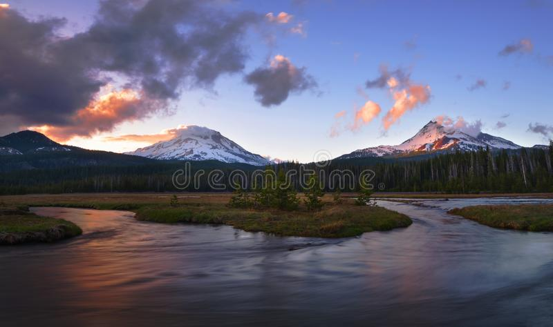 Mt Baker Area. Mountains in Mt Baker area seen at sunset royalty free stock photography