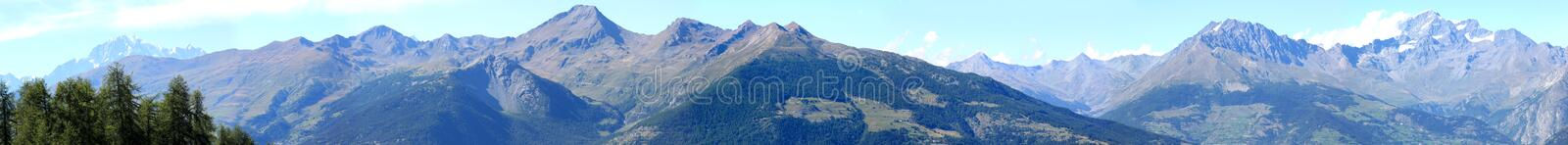 Mountains of National Park Gran Paradiso, Italy. Pila in Aosta Valley is a haven immersed in nature. In every direction you can look out over breathtaking views royalty free stock image