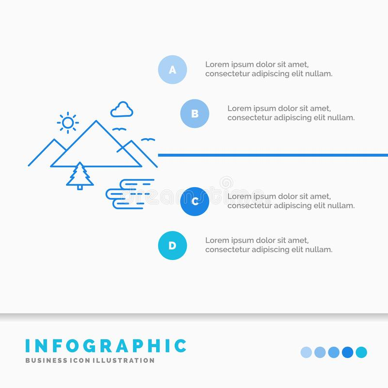 Mountains, Nature, Outdoor, Clouds, Sun Infographics Template for Website and Presentation. Line Blue icon infographic style vector illustration