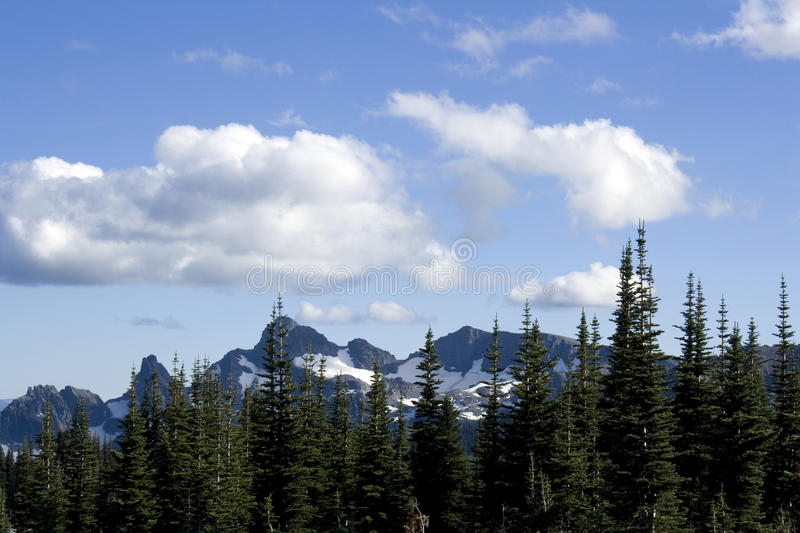 Mountains with nice cloudscape royalty free stock photo