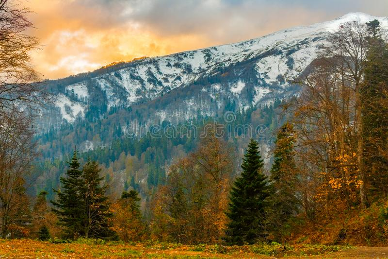 The landscape of the mountains of the North Caucasus are covered with snow and the forests at their base in late fall royalty free stock photo