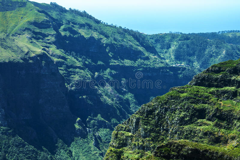 The Mountains in the north of the Island of Madeira. Madeira is a very mountainous Island with steep cliffs falling into the Atlantic Ocean. Mists constantly stock photography