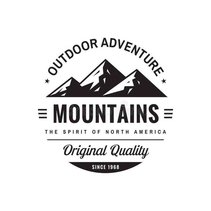 Mountains outdoor adventure - concept logo badge for t-shirt clothing. Original quality. Retro vintage style. Fashion graphic royalty free illustration