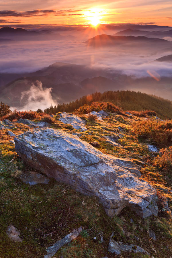 Mountains over the fog stock image