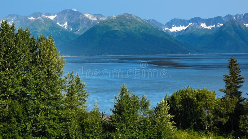 Mountains over Turnagain Arm in Summer royalty free stock photo