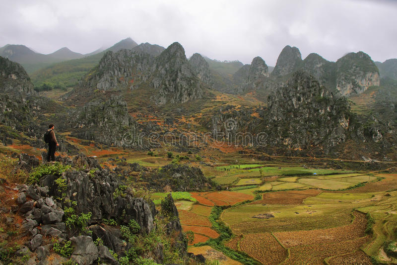 Mountains and paddies near Van in Ha Giang. Vietnam stock images